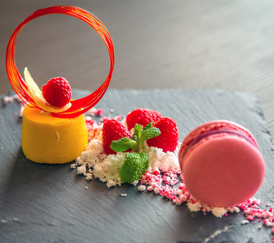 pink and yellow dessert