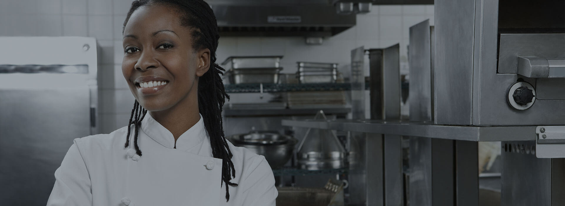 banner of a female chef smiling